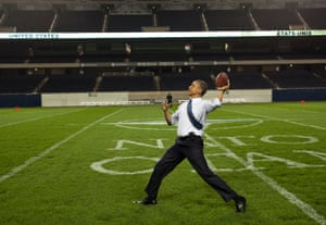 """20 May: '""""How cool is this,"""" the president said after he threw a football at Soldier Field following the Nato working dinner in Chicago. I think he was especially excited to be on the home turf of his beloved Chicago Bears'"""