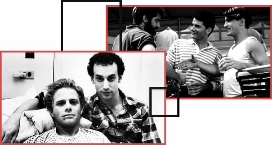 Left: Geoff Edholm and David Schachter in Buddies.Right: Stephen Caffrey, Campbell Scott and Dermot Mulroney in Longtime Companion.
