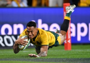 Israel Folau of the Wallabies goes over but his joy is short lived as the try is disallowed.