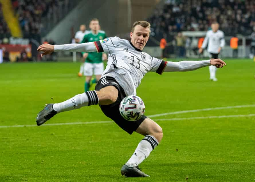 Lukas Klostermann takes a shot against Northern Ireland in a November 2019 qualifier