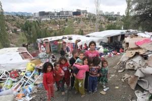 Syrian child refugees at a makeshift camp in Ankara.