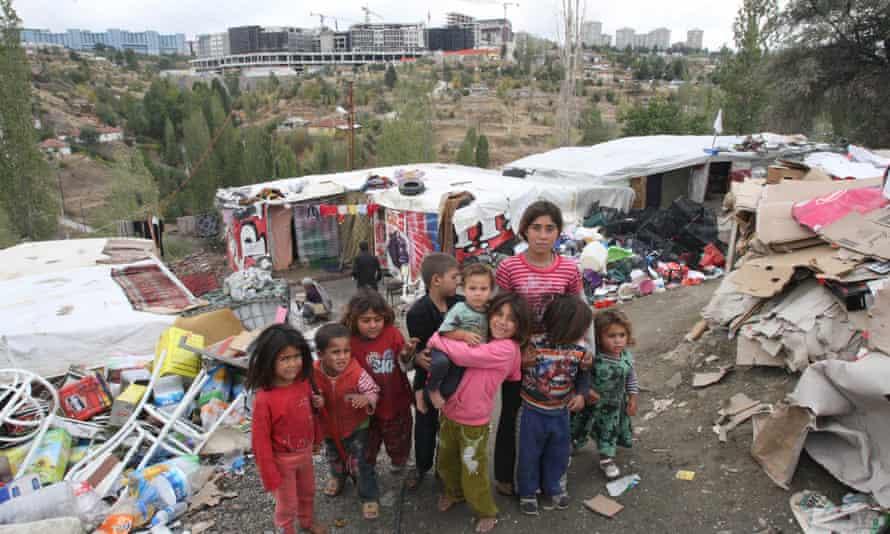 Syrian child refugees at a makeshift camp in Ankara, Turkey