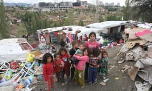 Child refugees from Syria in a makeshift camp in Ankara, Turkey
