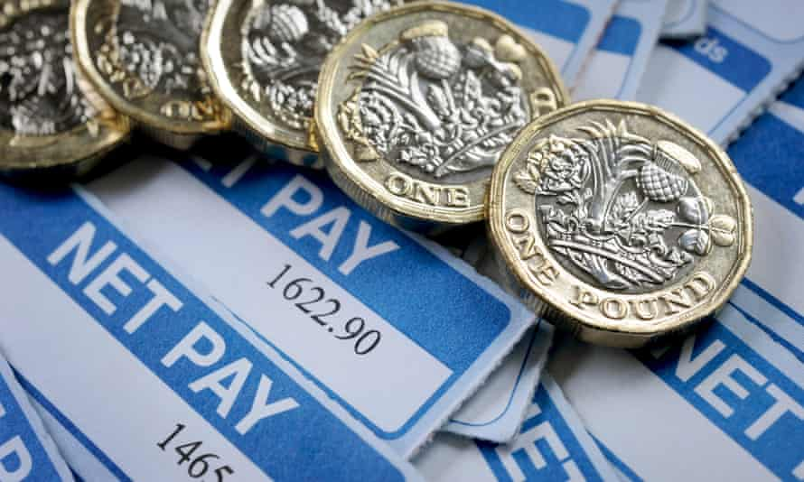 Payslips with £1 coins