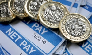 Payslips with pound coins