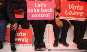 Vote Leave supporters at an event in Manchester