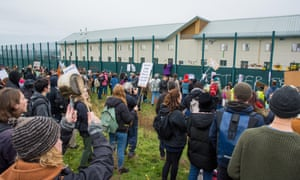 Protesters demonstrate outside Yarl's Wood, November 2017.