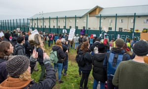 Protesters rally at Yarl''s Wood detention centre in Milton Ernest, Bedford.