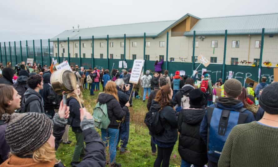 A demonstration outside the Yarl's Wood detention centre in Bedfordshire in 2017.