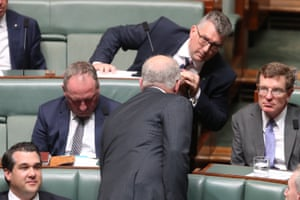 The Prime Minister Scott Morrison speaks to Keith Pitt during question time