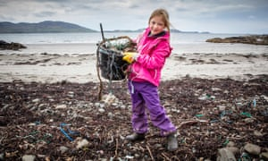 A pupil takes part in Greenpeace's Mull Beach Clean, 2017.