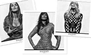 Cindy Crawford, Naomi Campbell and Claudia Schiffer in Balmain's spring/summer 2016 campaign