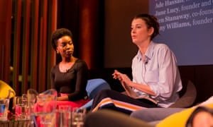 Ade Hassan, founder of Nubian Skin, and Amy Williams, founder of Good-Loop at the Guardian Business Disruptors event.