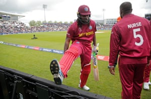 West Indies' Chris Gayle stretches before opening the batting against England at the Hampshire Bowl.