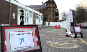 A coronavirus drive-through test centre is seen at the Western general hospital in Edinburgh