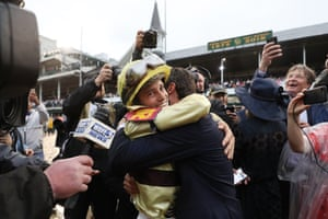 The jockey Flavien Prat celebrates after winning the Kentucky Derby at Churchill Downs