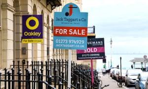 Estate agents signs in Brighton, UK