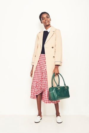 Smart Move Workwear classics, such as a trench and a white shirt, give the skirt a tailored feel Shirt, £220, Equipment net-a-porter.com Mac, £79, and knit, £24, both topshop.com Loafers, £160, kurtgeiger.com Bag, £149, finerylondon.com Skirt as before