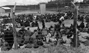 Mau Mau suspects in a prison camp in Kenya in 1952