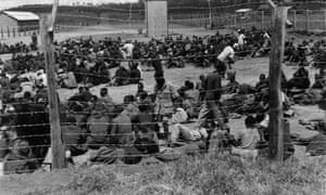 Prisoners in a camp during the Kenya Emergency, 1952