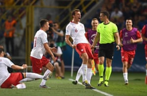 Krystian Bielik celebrates during Poland U-21s' win over Italy this week. He will be part of the focus for Ljungberg now.