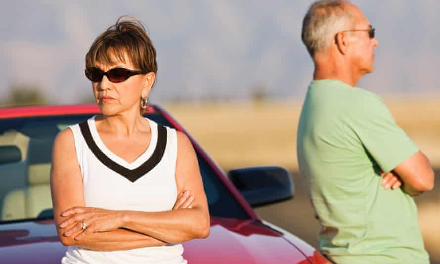 older couple not looking at each other