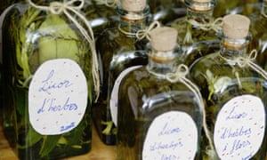 Homemade hierbas liqueur, Mallorca