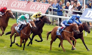 Frankie Dettori (second right) wins the Clipper Logistics Handicap making Mark Johnston the trainer with most British wins.