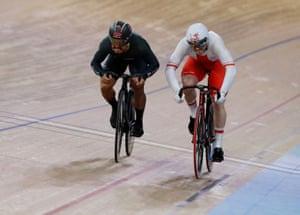 The men's sprint bronze medal final between Malaysia's Mohd Azizulhasni Awang and Poland's Mateusz Rudyk which Awang won