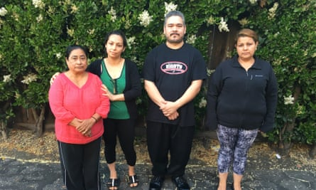 From left: Teresa Rivas, Sandra Zamora, Luis Carriel, and Eisabel Coronel are all facing rent increases from their longtime homes in Menlo Park.