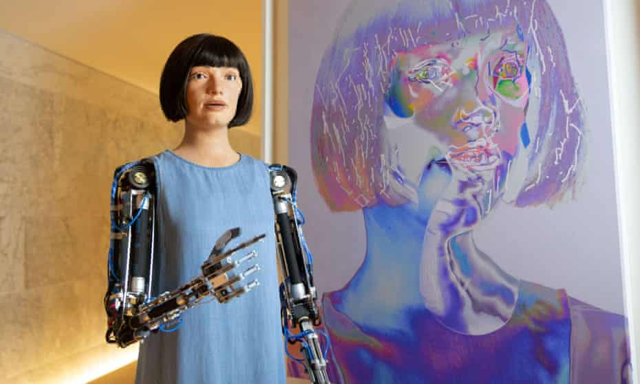 This is how I see myself … Ai-Da the robotic artist with a self-portrait.