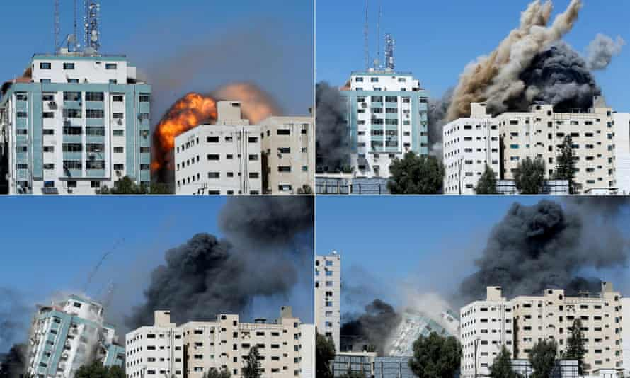 Combination picture shows the tower building housing AP and Al Jazeera offices collapsing.