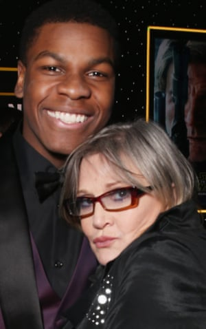 John Boyega and Carrie Fisher at the premiere of Star Wars: The Force Awakens in December 2015