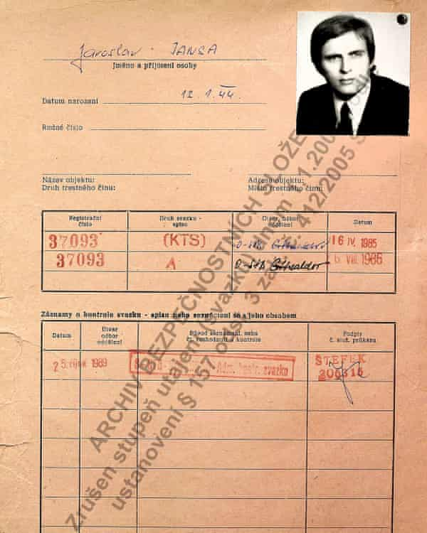 The StB security file of Jaroslav Jansa, who reported on Trump in the 1980s while he was married to Ivana.