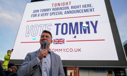 Tommy Robinson announcing his campaign to win a seat at the European parliament