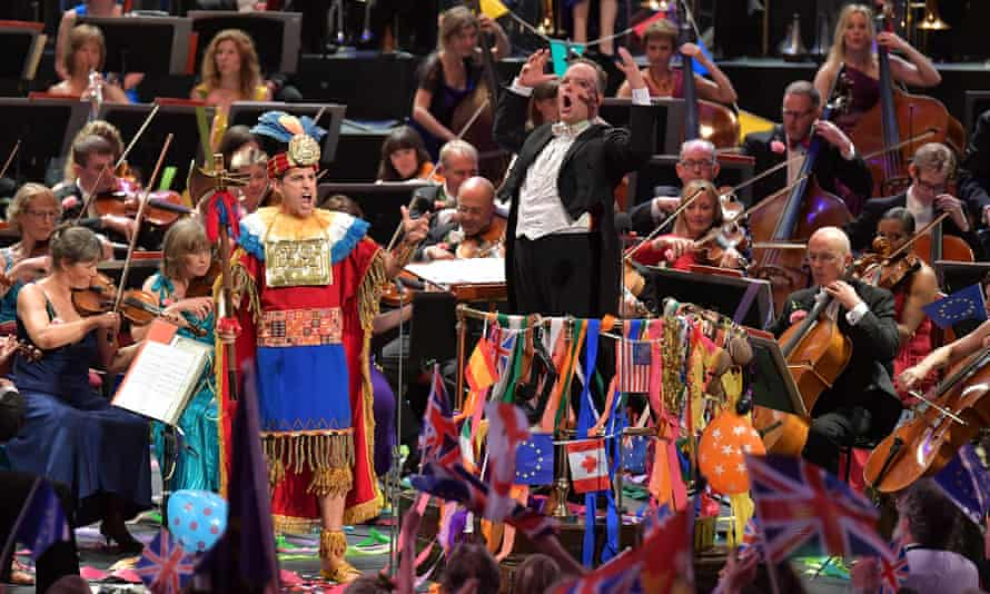 'Agility and wit' ... Juan Diego Flórez performs Rule Britannia dressed as an Inca warrior, with Sakari Oramo and the BBC Symphony Orchestra on the Last Night of the Proms, 2016.