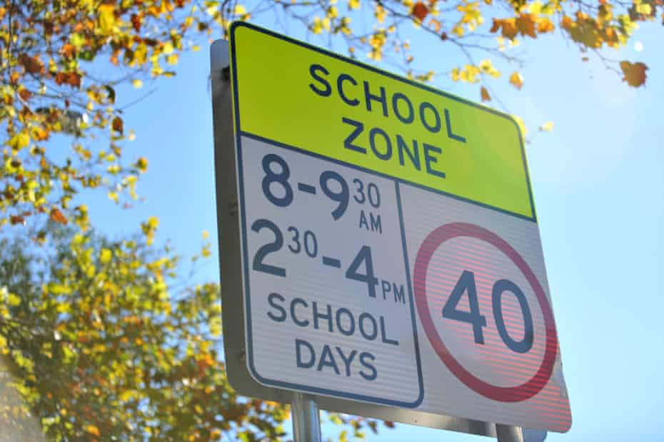 A sign warning of a school zone