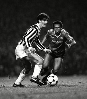 Rossi gets the better of Manchester United's Remi Moses in the 1984 European Cup Winners' Cup semi-final.