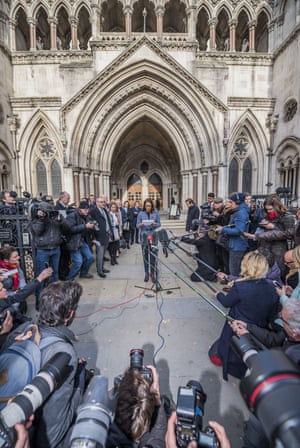 Gina Miller talks to the press after the high court judgment in London.