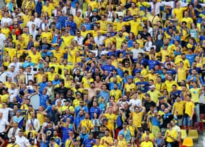 Ukraine fans in the stands.