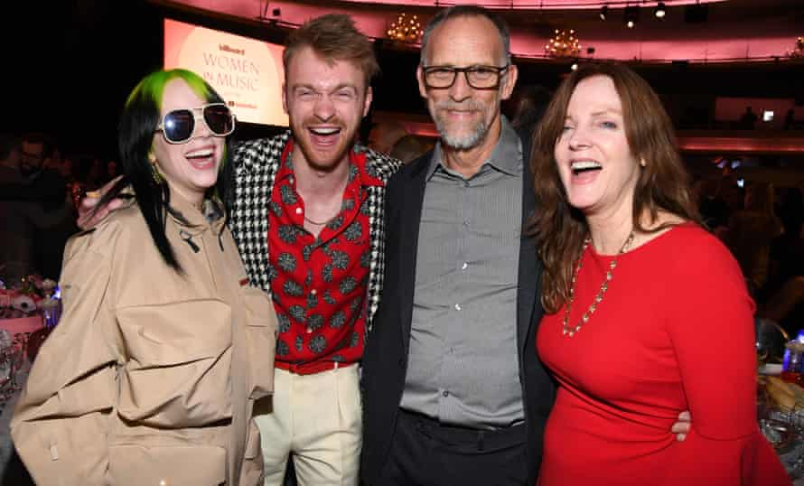 Billie Eilish, Finneas O'Connell, with their parents, Patrick O'Connell and Maggie Baird, at Billboard Women In Music 2019