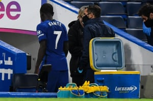 Ngolo Kante of Chelsea walks straight down the tunnel after being substituted.