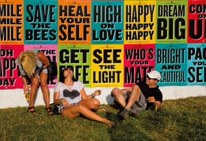 Happy people on the opening day of Glastonbury Festival 2014.