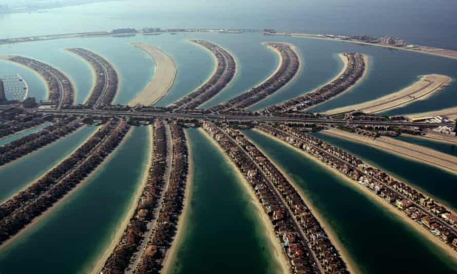 The manmade Palm Jumeirah island, off the coast of the Gulf emirate of Dubai.