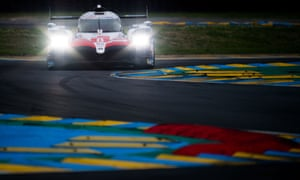 The Toyota of Sebastien Buemi, Kazuki Nakajima and Fernando Alonso during a qualifying session at Le Mans