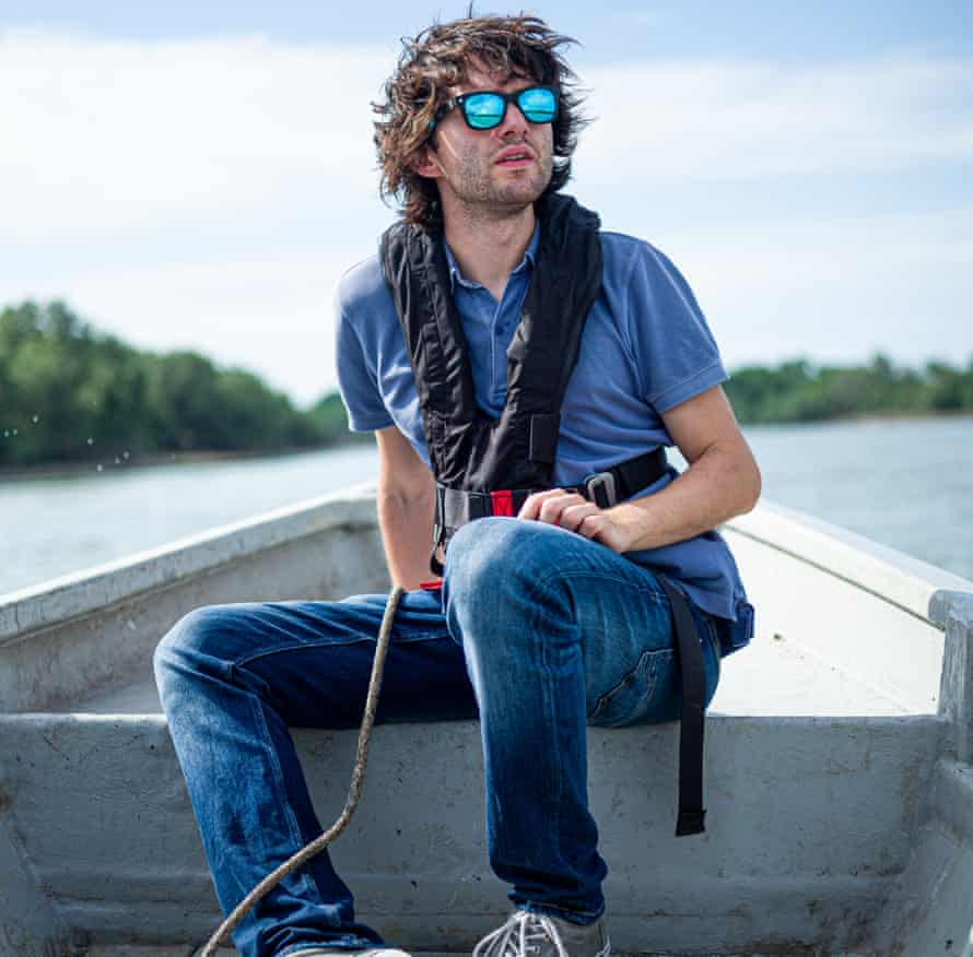 Boyan Slat, founder of Ocean Cleanup, wears sunglasses made from reclaimed plastic waste