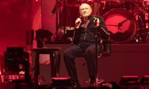 """Phil Collins of Genesis performs on stage """"The Last Domino Tour"""" at The SSE Hydro on October 07, 2021 in Glasgow, Scotland."""