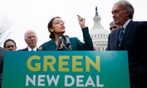 Democratic representative from New York Alexandria Ocasio-Cortez and Democratic Senator from Massachusetts Ed Markey introduce their Green New Deal resolution.