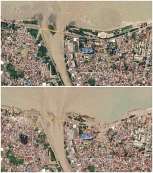 A combination of satellite images shows Palu, Indonesia on September 22, 2018 (top) and on October 1, 2018.