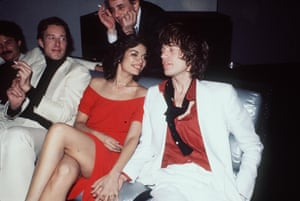 Halston, Bianca and Mick Jagger at Studio 54 for her birthday in 1977.
